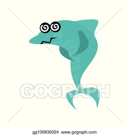 Vector Illustration - Cute dizzy shark cartoon character