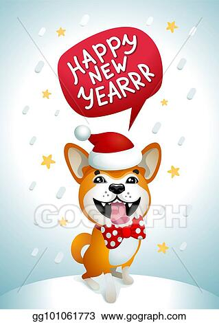 cute dog with happy new year inscription smiling yellow dog with santa claus red hat on a blue christmas background akita inu