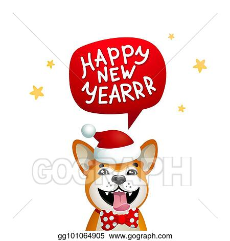 Vector Illustration Cute Dog With Happy New Year Inscription