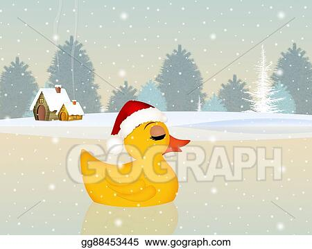 drawings cute duck at christmas in winter stock illustration