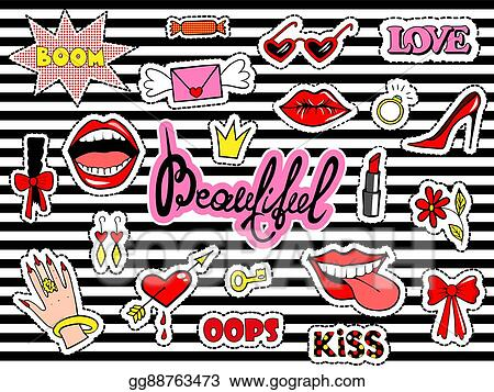 Vector Stock - Cute fashion patch badges with lips, heart, ring