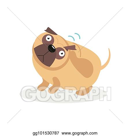 Eps Illustration Cute Funny Pug Dog Character Wagging The Tail