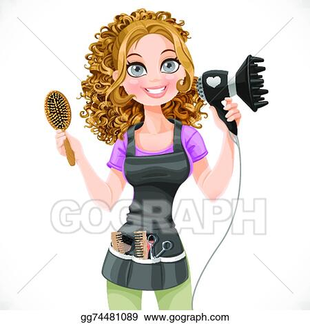 Vector Clipart Cute Girl Hairdresser With Hair Dryer And