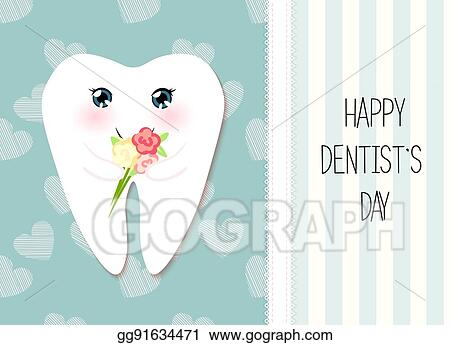 Vector Art Cute Greeting Card Happy Dentist Day As Funny Smiling Cartoon Character Of Tooth With Golden Glitter Crown Clipart Drawing Gg91634471 Gograph