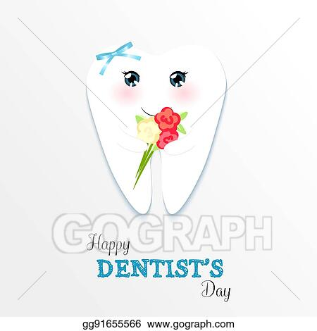 Vector Art Cute Greeting Card Happy Dentist Day As Funny Smiling Cartoon Character Of Tooth With Golden Glitter Crown Clipart Drawing Gg91655566 Gograph