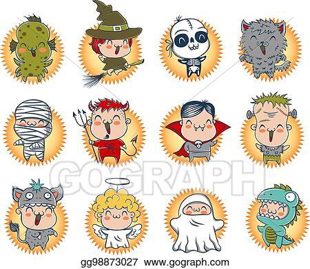 Vector Art Cute Halloween Monsters Clipart Drawing Gg98873027 Gograph