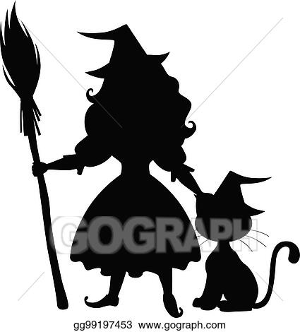 725562f6 Vector Stock - Cute halloween witch and cat silhouette. Stock Clip ...