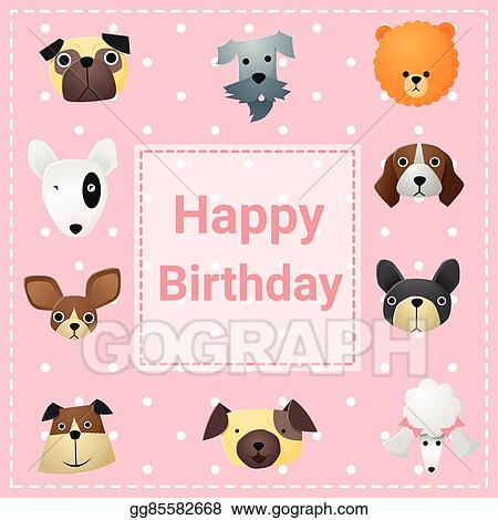 Vector Illustration Cute Happy Birthday Card With Funny Dogs Eps
