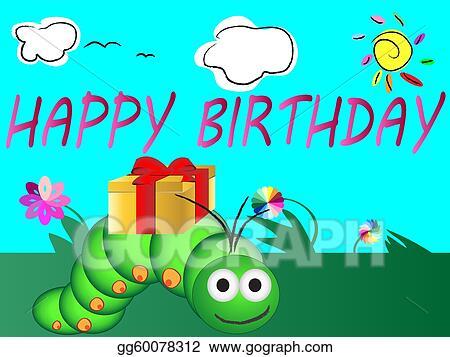 Vector Art Cute happy birthday card Clipart Drawing gg60078312 – Happy Birthday Cards Cute