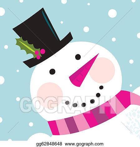 vector illustration cute happy snowman face with snowing