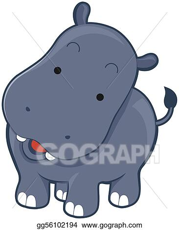 stock illustration cute hippo clipart illustrations gg56102194 rh gograph com Cute Baby Hippo Coloring Pages Baby Hippo Clip Art