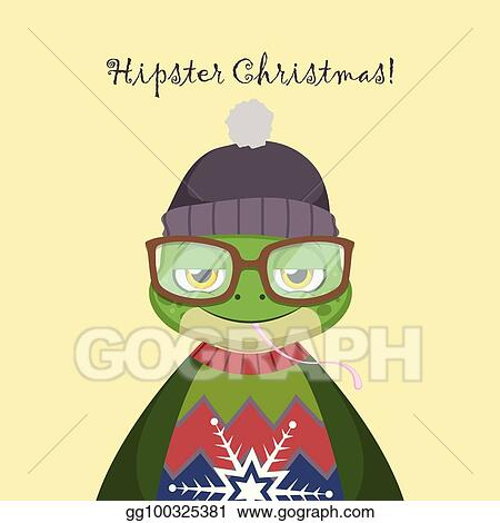 317808c3f43 Vector Illustration - Cute hipster frog with an ugly christmas ...