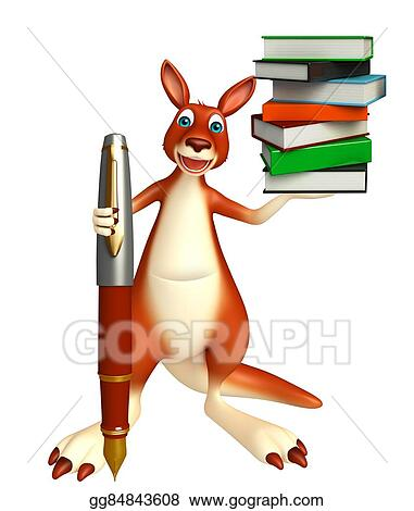 drawing cute kangaroo cartoon character with book and pen clipart drawing gg84843608 gograph cute kangaroo cartoon character with