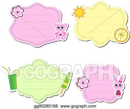EPS Vector - Cute kids frame for text, isolated on white background ...