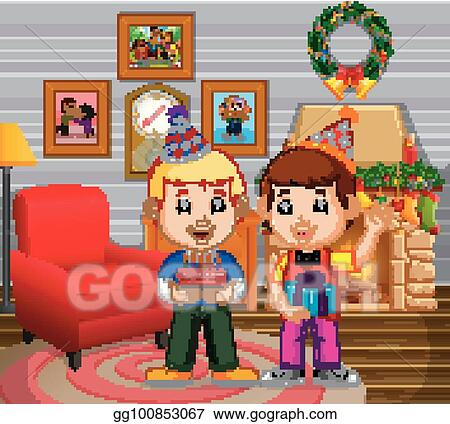 Vector Clipart Cute Kids In The Living Room During