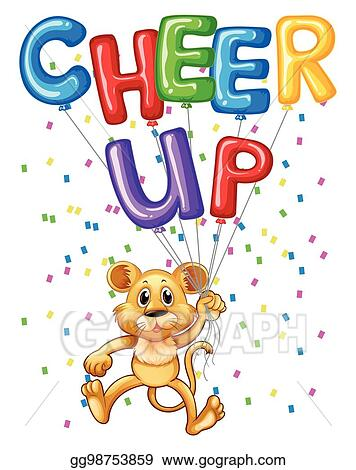 vector stock cute lion cub with balloons and word cheer up rh gograph com Cheer Clip Art Cheer Clip Art