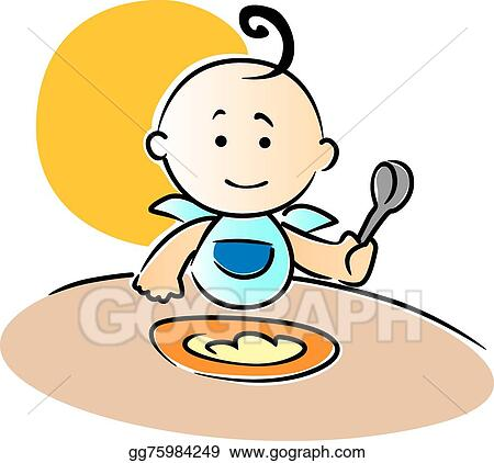 vector art cute little baby sitting eating food clipart drawing rh gograph com baby eating food clipart