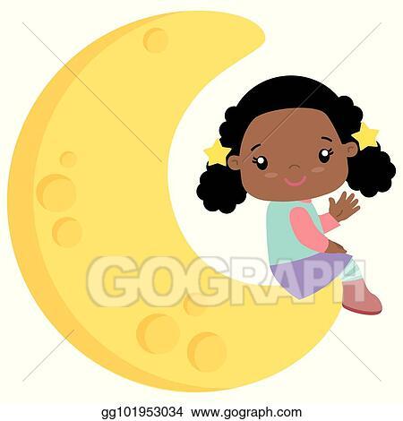Vector Art Cute Little Black Girl Sitting On Moon Flat Vector
