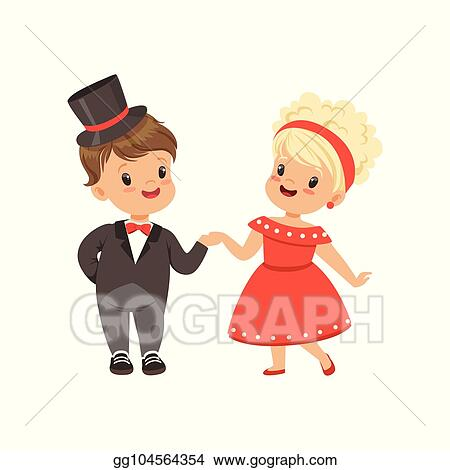 Vector Illustration Cute Little Boy And Girl Dancing Classical Dance In Retro Clothes Vector Illustration On A White Background Stock Clip Art Gg104564354 Gograph