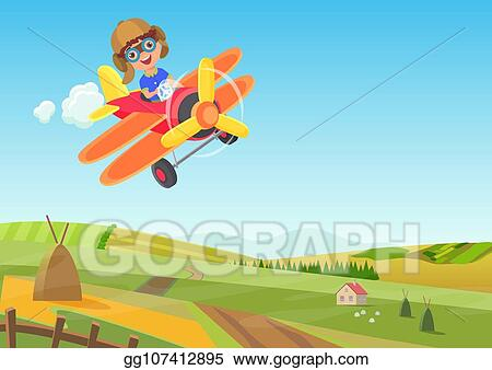 Vector Stock Cute Little Boy Flying In Airplane Above The Fields