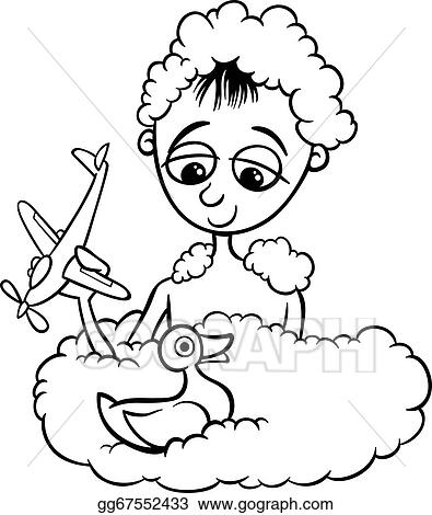 EPS Vector - Cute little boy in bath coloring page. Stock Clipart ...