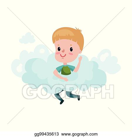 vector clipart cute little boy playing on a cloud kid fantasizes rh gograph com
