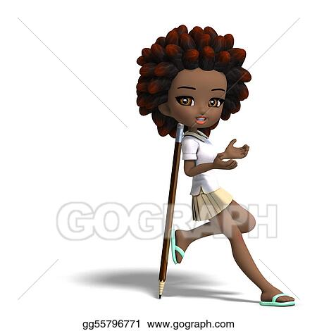 Stock Illustration Cute Little Cartoon School Girl With Curly Hair