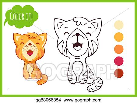 Cute Little Cat Cartoon Kitty Character Isolated On A White Background With Black Outline For Coloring Book Preschool