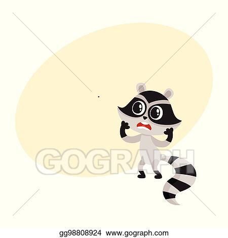 Vector Art Cute Little Raccoon Character Unpleasantly Surprised