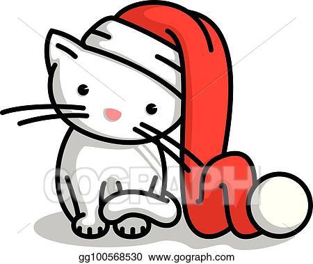 Vector Art Cute Little Santa Claus Christmas Kitten