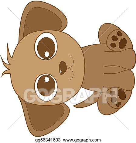 vector art cute looking brown dog with big eye clipart drawing