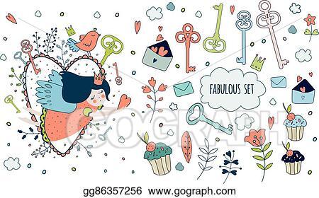 Image of: Dragoart Cute Magic Collection With Princess Unicorn Rainbow Dragon Gograph Vector Art Cute Magic Collection With Princess Unicorn Rainbow