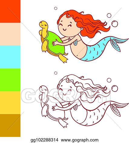 Clip Art Vector Cute Mermaid With Turtle Coloring Book