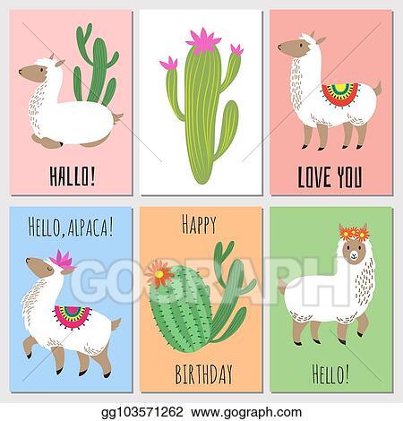 Vector Art Cute Mexican Alpaca Kids Vector Invitation