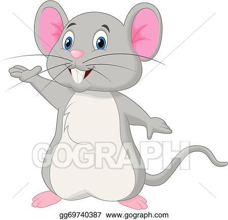 Vector Art Cute Mouse Cartoon Waving Clipart Drawing