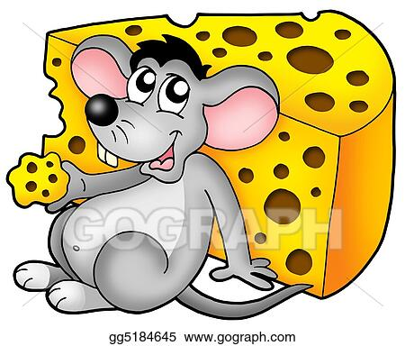 Clip Art Cute Mouse Eating Cheese Stock Illustration