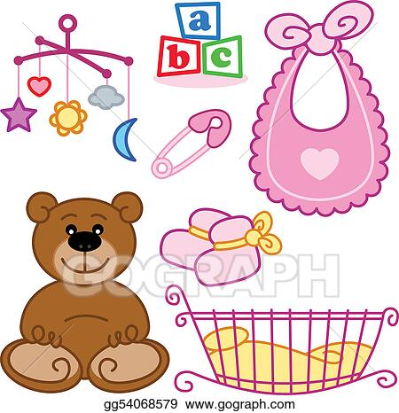 Drawing Cute New Born Baby Girl Toys Graphic Elements Clipart