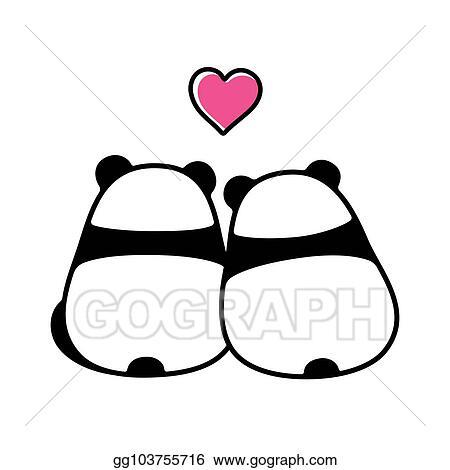 Vector Art Cute Panda Couple In Love Eps Clipart