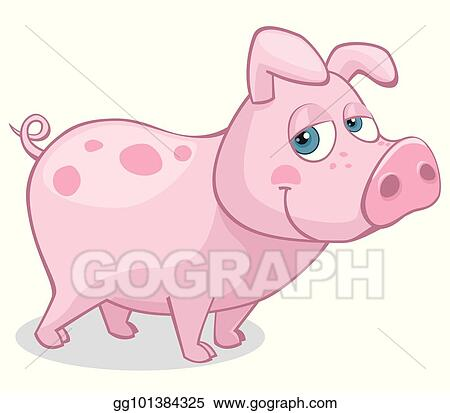 Vector Art Cute Pig Standing On All Four Looking At The Viewer