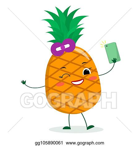 Eps Vector Cute Pineapple Cartoon Character With Bow Holds A Phone And Makes Selfies Stock Clipart Illustration Gg105890061 Gograph Here you can explore hq cartoon pineapple transparent illustrations, icons and clipart with filter polish your personal project or design with these cartoon pineapple transparent png images, make. https www gograph com clipart license summary gg105890061