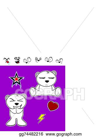Vector Art Cute Polar Bear Baby Cartoon Set8 Clipart Drawing