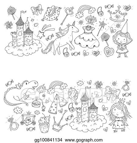 Vector Illustration Cute Princess Icons Set With Unicorn Dragon