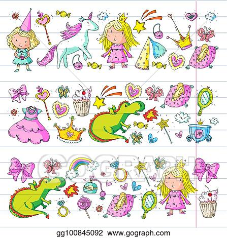 Cute Princess Icons Set With Unicorn Dragon Girl Wallpaper Baby Shower Invitation Kindergarten Preschool Nursery Birthday School Party