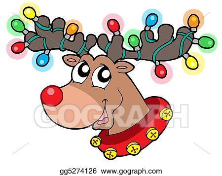 Stock Illustration Cute Reindeer In Christmas Lights