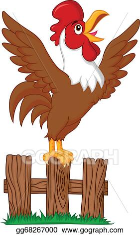 Clip Art Vector - Cute rooster cartoon crowing on the ...