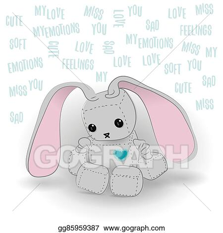 Vector Illustration Cute Sad Bunny Robot Miss You Stock Clip Art