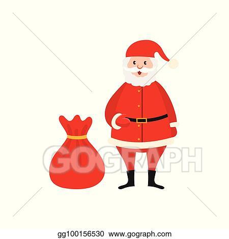 cute santa claus and big bag of christmas presents