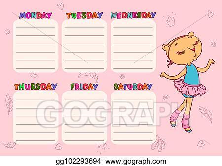 vector stock cute school schedule template with cat girl vector