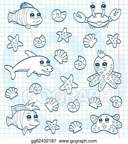 EPS Vector - Cute Sea Animals (coloring Book). Stock Clipart Illustration  Gg62432187 - GoGraph