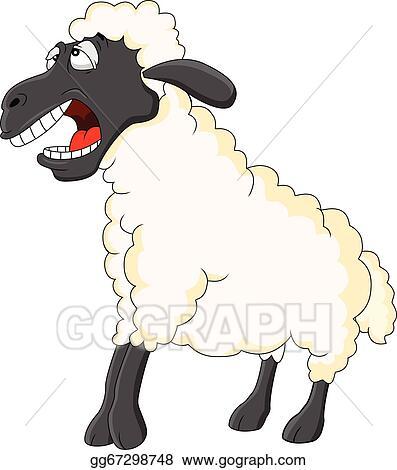 Eps Vector Cute Sheep Cartoon Stock Clipart Illustration